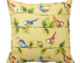 Yellow Outdoor Pillows, Outdoor Pillow Cover, Outdoor Bird Pillow, Yellow  Pool Pillows,