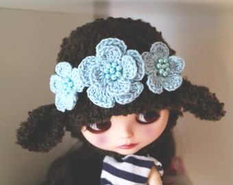 Blythe sheep hat. Ear hat for newborn prop. Blythe ears hat. Blythe accessories. Blythe doll hat. brown sheep hat.
