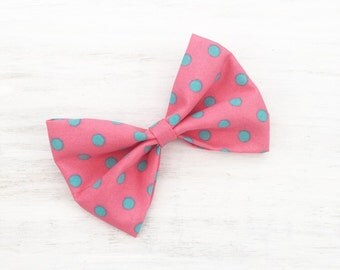 """Bubblegum Pink with Turquoise Polka dot print 4"""" Hair Bow Clip"""