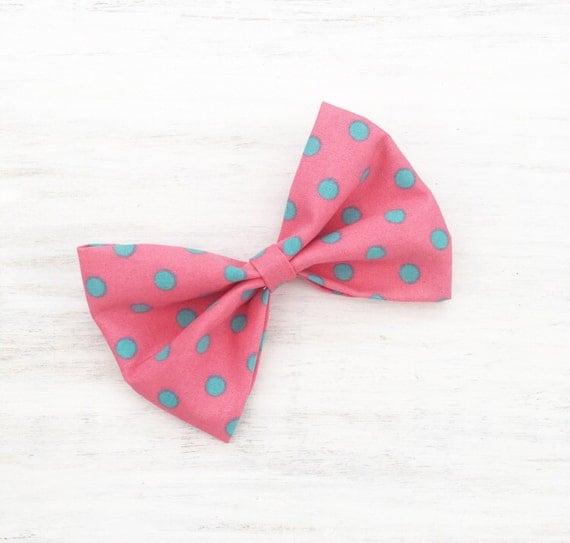 "Bubblegum Pink with Turquoise Polka dot print 4"" Hair Bow Clip"