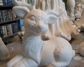 Cute, lying softy reindeer, stuffed animal, christmas decoration, softee reindeer, softie,ready to paint, ceramic u-paint,Ceramic bisque
