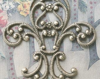 TWO Open Brass Fleur de Lys stampingS, Brass Ox