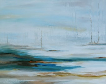 Abstract seascape teal oil painting, swamp marsh, wall art for over couch, mantle piece, tan, original abstract canvas art, Wilmington NC