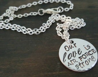 Our Love Is Strong Military Wife or Mother's Necklace, Deployment Jewelry by Miss Ashley Jewelry