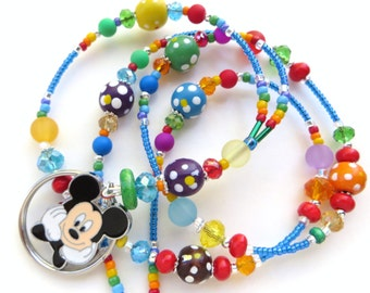 CHEERFUL MICKEY- Beaded Id Lanyard- Sparkling Crystals, Wood Beads, and Mickey Mouse Charm (Magnetic Clasp)