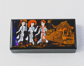 Oriental Vintage Black Lacquered Trinket Box Gift Business Cards Box Jewellery Box Hand Made Beautiful Design - Great Gift