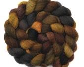 Hand dyed wool roving - Gray Masham wool spinning fiber - 4.1 ounces - Zoo At Night 2