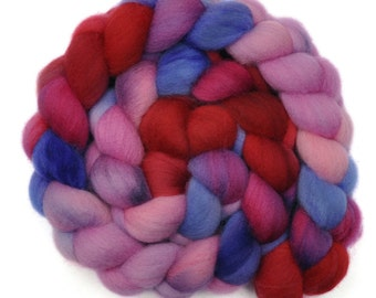 Hand dyed spinning fiber -  Falkland combed top wool roving - 4.1 ounces - Eyes For You 2