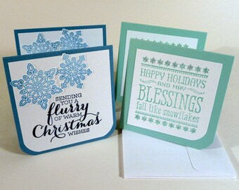 Snowflake Mini Cards, set of 4, with envelopes, 3 inch square cards, folded gift tags, hand stamped Christmas cards, 2 different designs