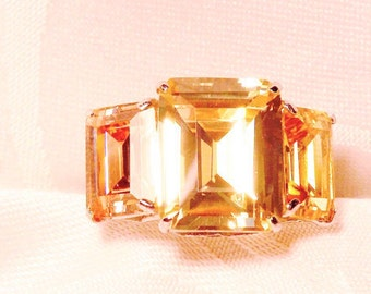 Golden Topaz Colour Change  Silver and Stainless Ring, CZ Stones, Statement Ring, Adjustable Size