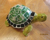 Garden Turtle Mixed Media Original Upcycled Mosaic and Ceramic Yard and Garden Art Home Decor