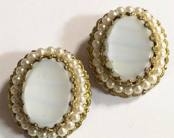 Vintage Gold Tone with Faux Pearls and White Glass Center Earrings