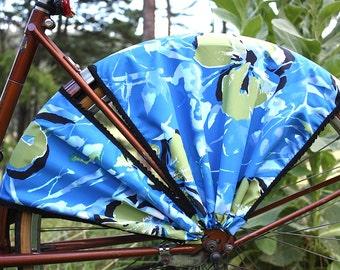 Bike Skirt Guard, 'Blue Hawaii'. Bicycle accessories, cruiser accessories, bike wheel guard