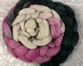 Hand dyed combed Haunui NZ Halfbred or NZ Merino wool for felting and spinning - 100gr - *New* - Sugar Plum gradient
