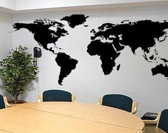 "Removable Vinyl Wall Art Decal Sticker Big Global World Map Atlas 106"" W"
