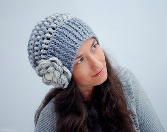 EXPRESS SHIPPING to US, Canada! Gray Knit Cap, White Slouch Hat, Floral Knit Beret, Winter Accessories for Women
