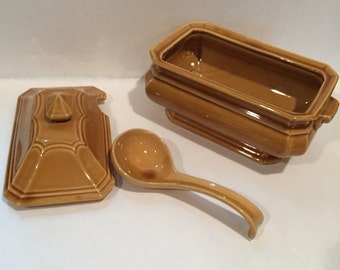 Stone Craft by Royal Sealy Gravy Boat with Lid and Spoon ~ Gold ~ Japan 25/15 7 x 3