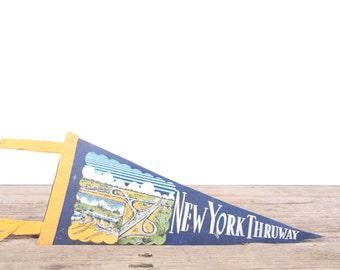 1950s New York Thruway Pennant / Vintage Felt Pennant / Pennant Banner / Pennant Flag / Blue and Yellow Pennant / Wall Pennant Decor