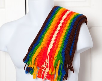 Vintage Knit Rainbow Scarf - long scarf colorful with fringe