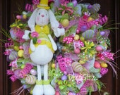 Extra Large EASTER BUNNY Wreath with Easter EGGS Galore