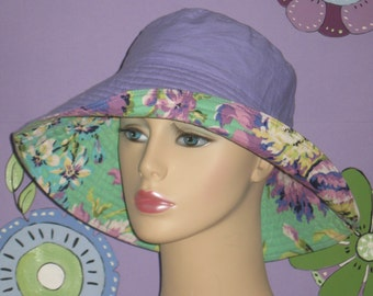 Cancer Hat Sun Hat Hair Loss hat for Alopecia Reversible. made in the USA. ( For Size Guide, see 'Item Details' below photos)MEDIUM/LARGE