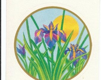 ON SALE Vintage Rare Illuminations Violet Iris Sticker - 80's