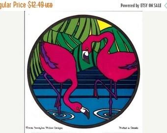 ON SALE HUGE and Very Rare Vintage Sandylion Flamingos Vinyl Transparent Sticker 80's Childrens Child Bedroom Decor Stained Glass Look