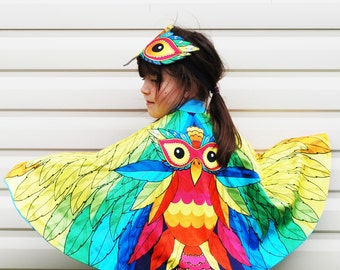 Rainbow bird cape and mask fancy dress