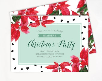 Printable Christmas Invitation with Poinsettia - Ornament Exchange Party Invite - Black and White Spots / Dots