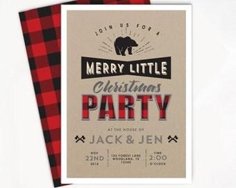 Printable Christmas Invitation - Holiday Buffalo Plaid, Lumberjack Party, Rustic Invite, Woodland Printable