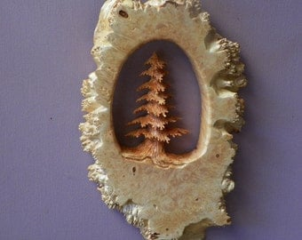 Hand carved evergreen tree in beautiful Oregon Big Leaf maple burl