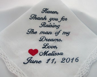 Embroidered Mother of the Groom Wedding Handkerchiefs