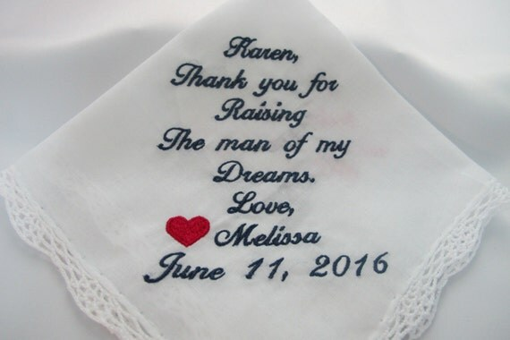 Embroidered Mother of the Groom Wedding Handkerchiefs