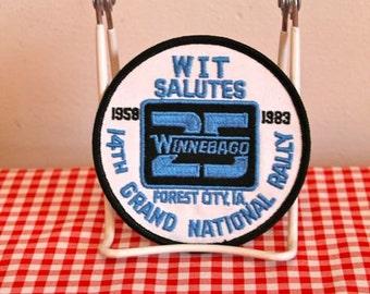 vintage iron on patch - 'WINNEBAGO'  wit club budge c.1983