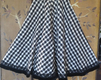 60s black and white gingham quilted full swing / circle skirt by Alex Colman of California