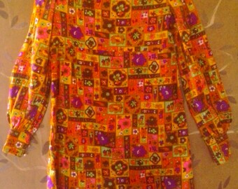 70s flower power psychedelic tunic style mini dress
