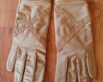 70s tan leather trim driving gloves by Finale