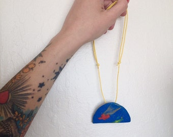Meteor Shower. Cosmic hand-sculpted polymer clay necklace.