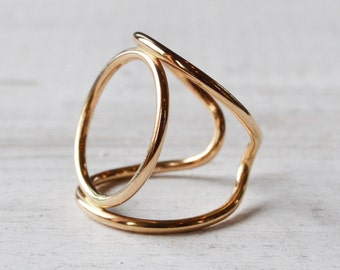 Circle Cuff Ring, Circle Ring, Over the Knuckle Ring, Adjustable Open Cuff Ring, Minimalist Gold Ring, Gold Filled Ring, Gold Circle Ring