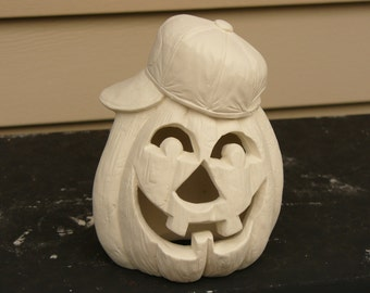 Ceramic Bisque Pumpkin with Baseball Cap