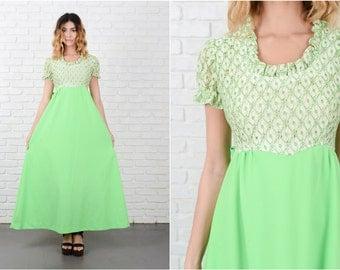Green + White Mod Boho Dress Vintage 70s Cutout Lace Puff Sleeve Maxi Small S 8183