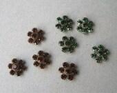 Swarovski Crystal Small Flower Embellishments You Choose Tourmaline Green or Smoke Topaz (4)