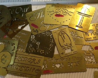 Large Lot of Brass Stencils  Dry or Wet Emboss  Stencil  Template
