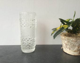 1970s Czech Candle Wax Glass Vase