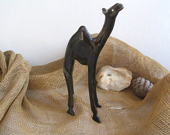Wood Camel Figurine, Bedouin Nomad Life Stock, Vintage Collectible Animal Asian Desert, Handcarved Figurine, Mancave Stuff, Cabin Bar Decor