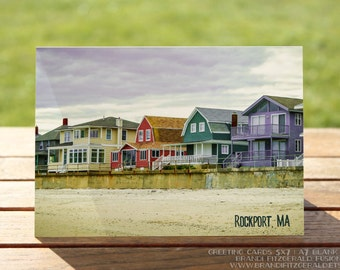 Rockport MA Greeting Card | Colorful Beach Homes Nautical | A7 5x7 Folded - Blank Inside - Wholesale Available