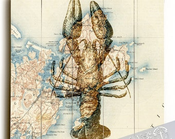 Wood Sign: Lobster Over Rockport, Mass Vintage Map Printed Direct On Wood. Nautical Beach House Wall Decor Ready to Hang
