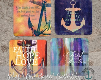 Faith Coaster Set: Nautical Anchor Christian Religious Home Decor | Cork Back Home Accessories