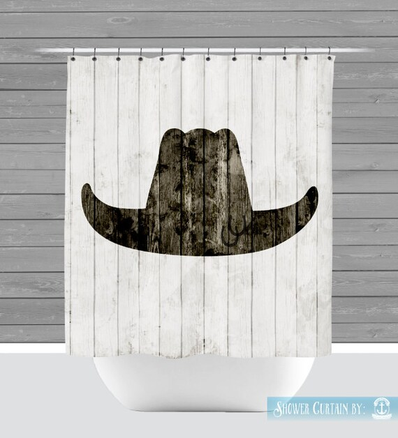 Cowboy Shower Curtain Rustic Country Cowboy Hat Western Ranch