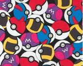 In Stock - Pokemon Balls Fabric From Robert Kaufman